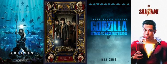 Aquaman, Fantastic Beasts 2, Godzilla King of Monsters, Shazam