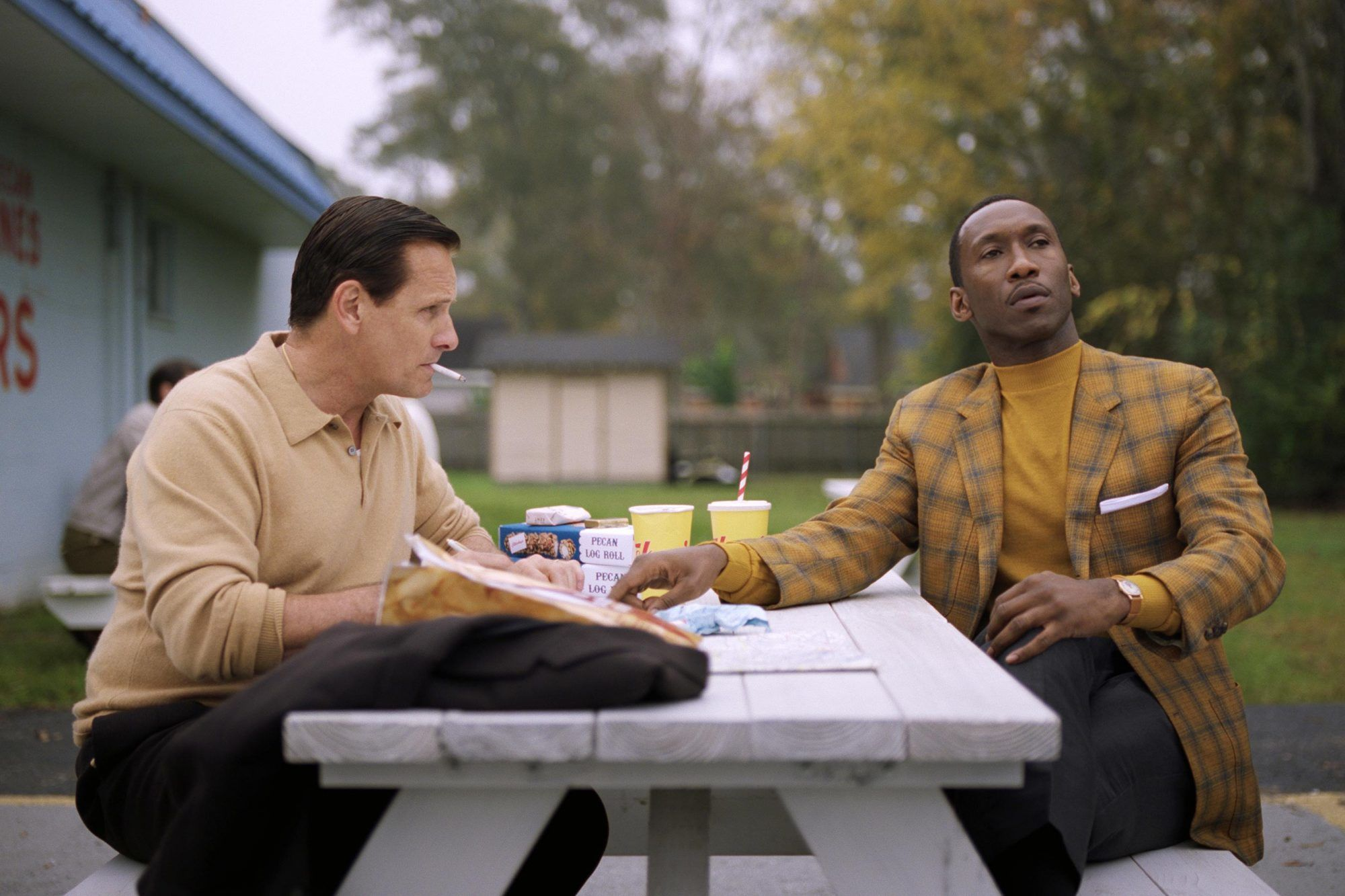 Viggo Mortensen e Mahershala Ali sul set di Green Book