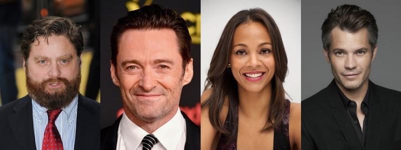 Il cast principale di Missing Link: Zach Galifianakis, Hugh Jackman, Zoe Saldana, Timothy Olyphant