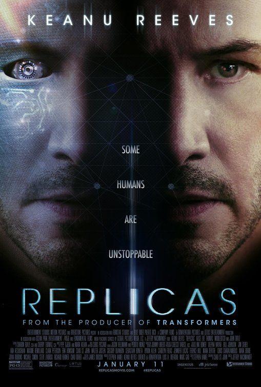 Il poster di Replicas con Keanu Reeves