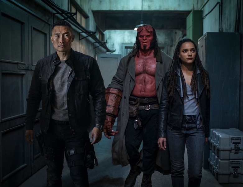 Daniel Dae Kim, David Harbour e Sasha Lane in Hellboy