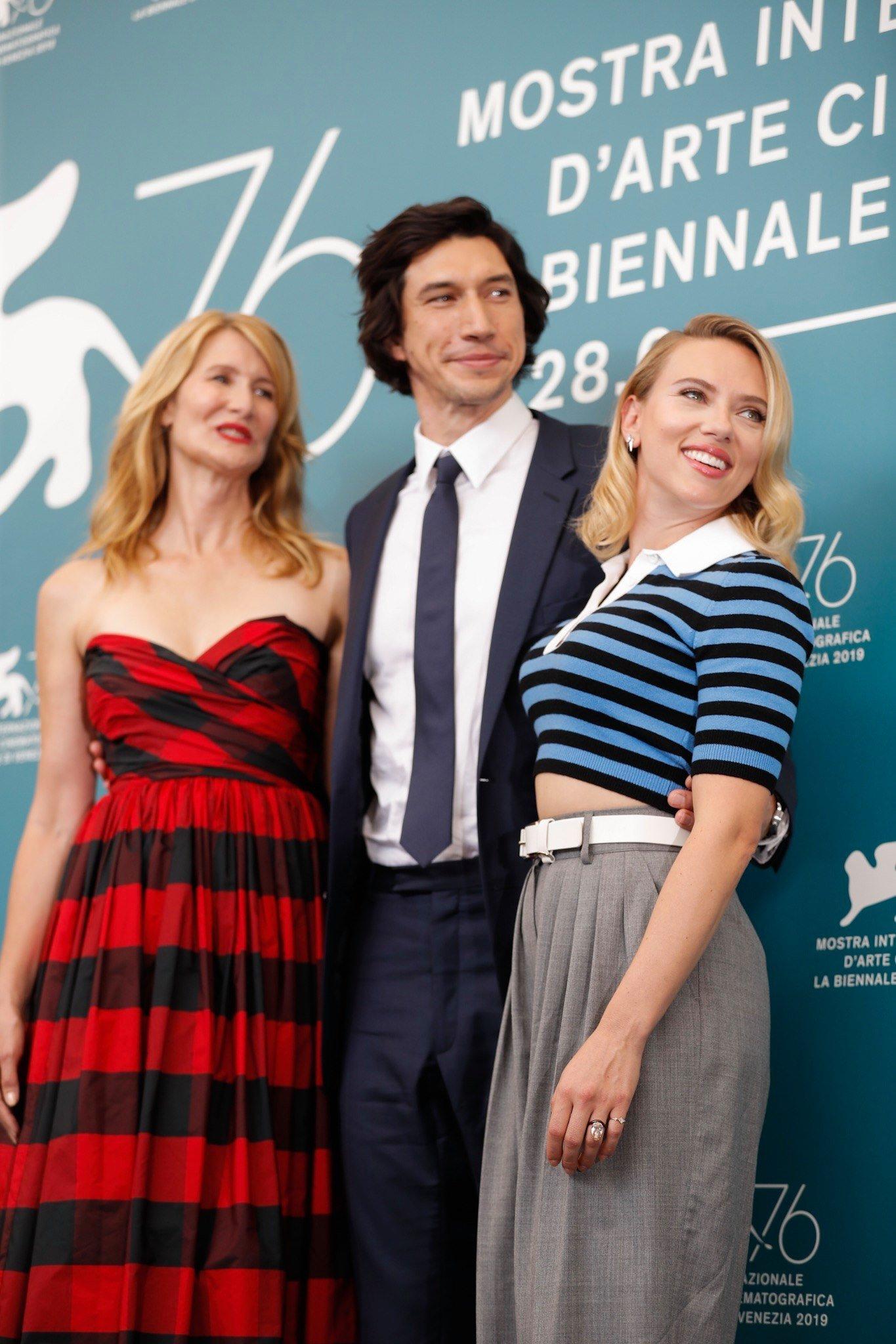 Scarlett Johansson, Adam Driver e Laura Dern