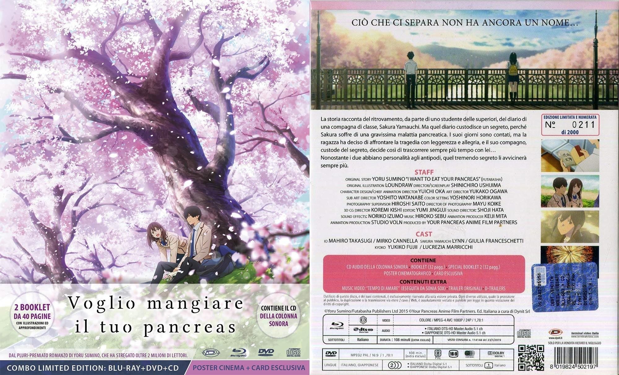 Voglio mangiare il tuo pancreas Limited Edition Blu-ray e Dvd