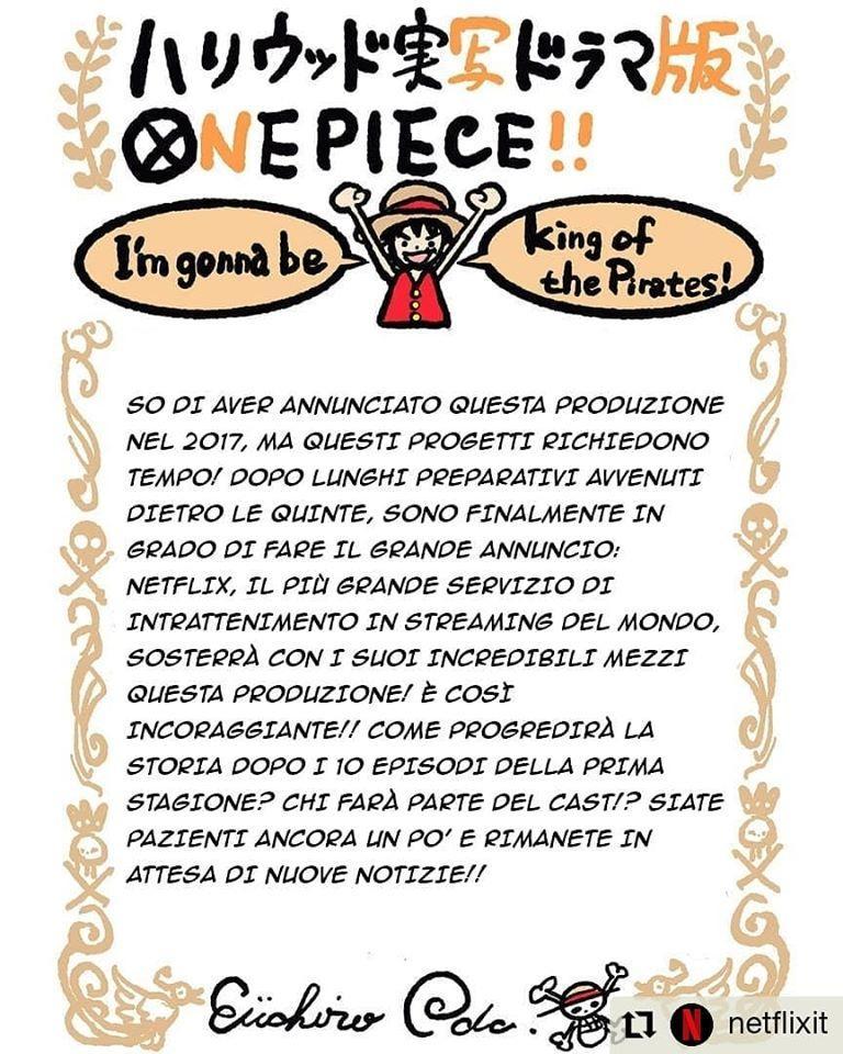 Eiichirō Oda annuncia la versione live action di One Piece