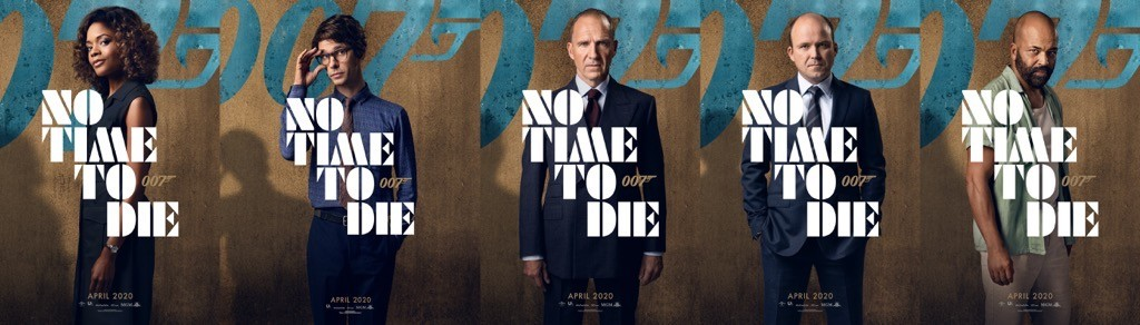 Vecchie conoscenze: Eve Moneypenny (Naomie Harris), Q (Ben Whishaw), M (Ralph Fiennes), Tanner (Rory Kinnear), Felix Leiter (Jeffrey Wright) ritornano in No Time To Die