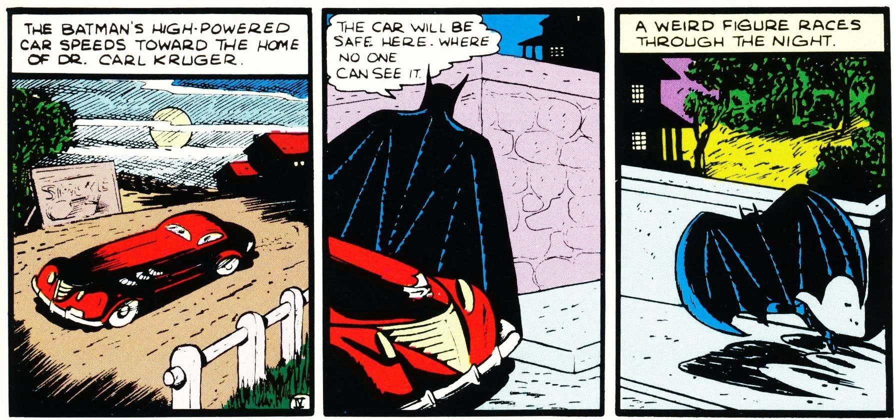 La Batmobile rossa dei fumetti disegnata da Bill Finger