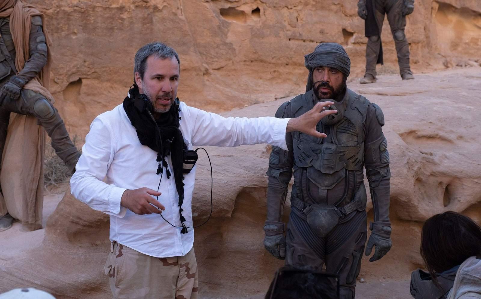 Denis Villeneuve e Javier Bardem sul set di Dune