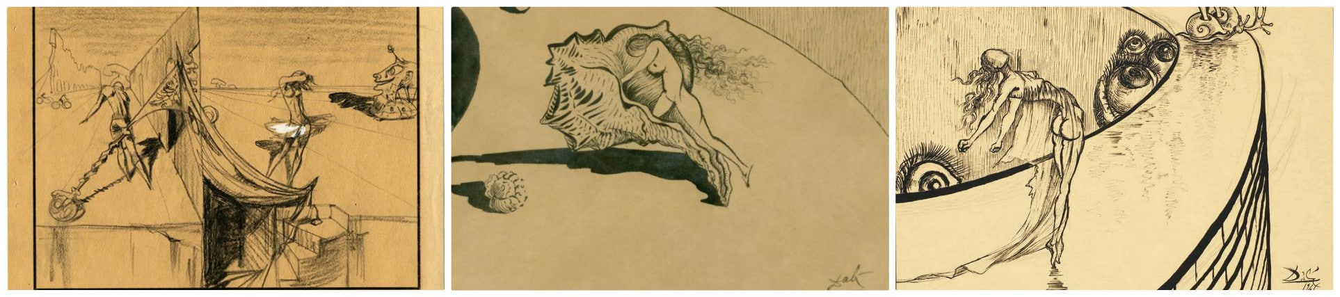 Alcuni schizzi originali realizzati da Salvador Dalí