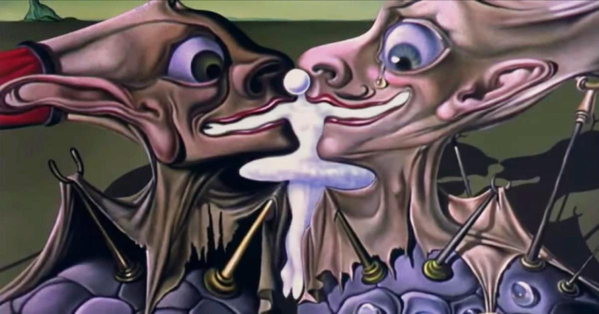 I volti di Disney e Dalí che si sovrappongono per dare vita alla ballerina