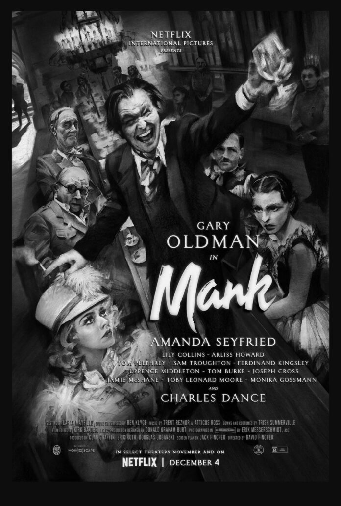 Mank di David Fincher con Gary Oldman: il poster