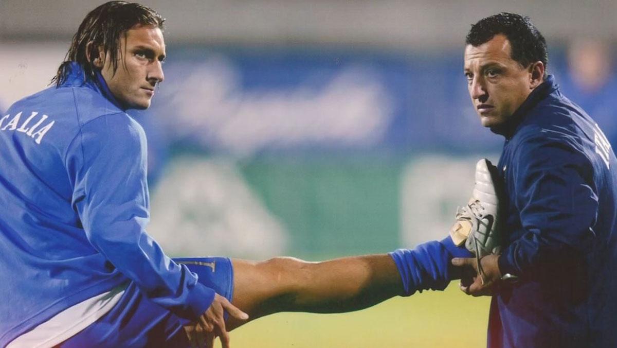 Francesco Totti e il preparatore atletico Vito Scala