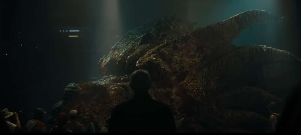 Una delle teste di King Ghidorah nella scena post credits di Godzilla II – King of the Monsters