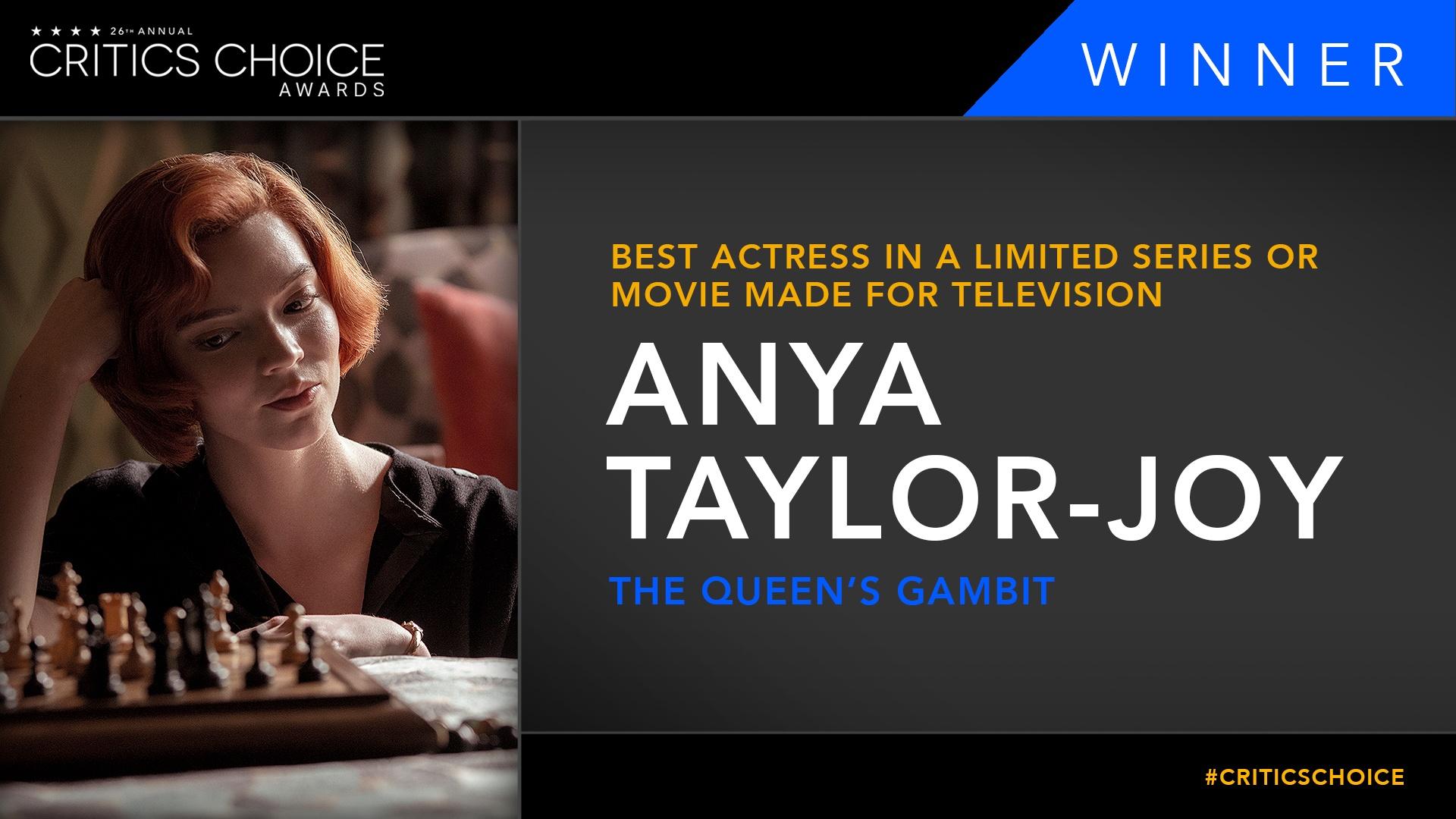 Anya Taylor-Joy migliore attrice in una miniserie per La regina degli scacchi ai Criticc Choice Awards