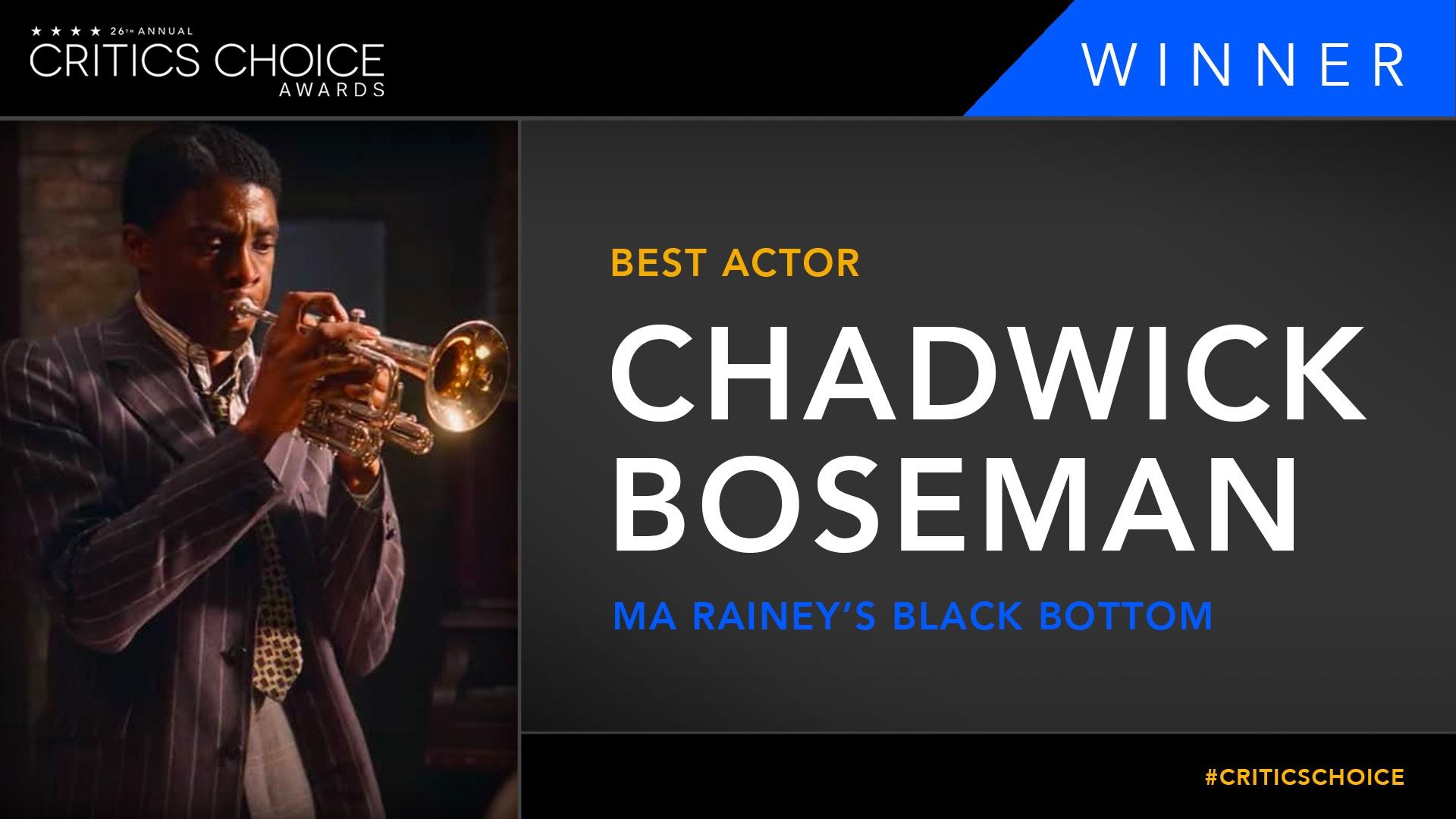 Chadwick Boseman miglior attore per Ma Rainey's Black Bottom ai Critics Choice Awards