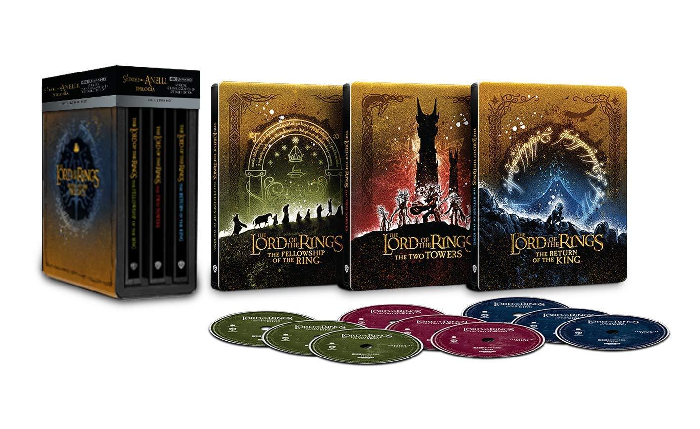 Il Signore degli Anelli Trilogia Steelbook 4K Ultra HD 9 dischi