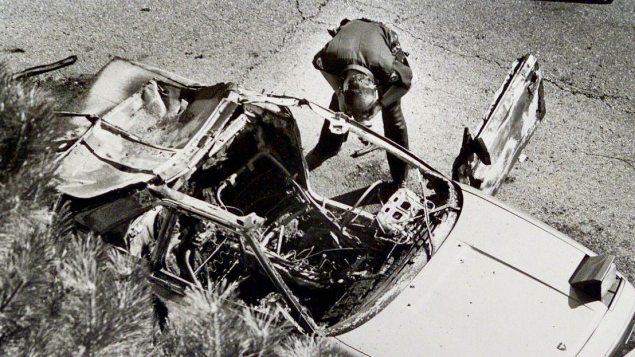 Una foto dell'auto di Mark Hofmann a seguito della terza esplosione