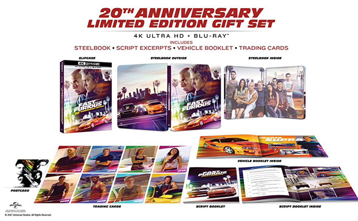 The Fast and The Furious Limited Edition 20th Anniversary Steelbook