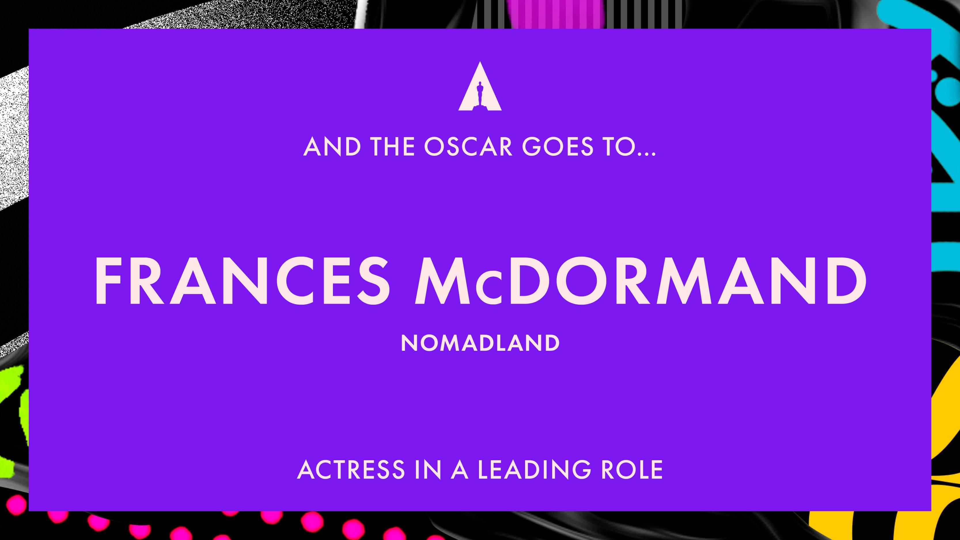 Oscar 2021: Frances McDormand migliore attrice protagonista