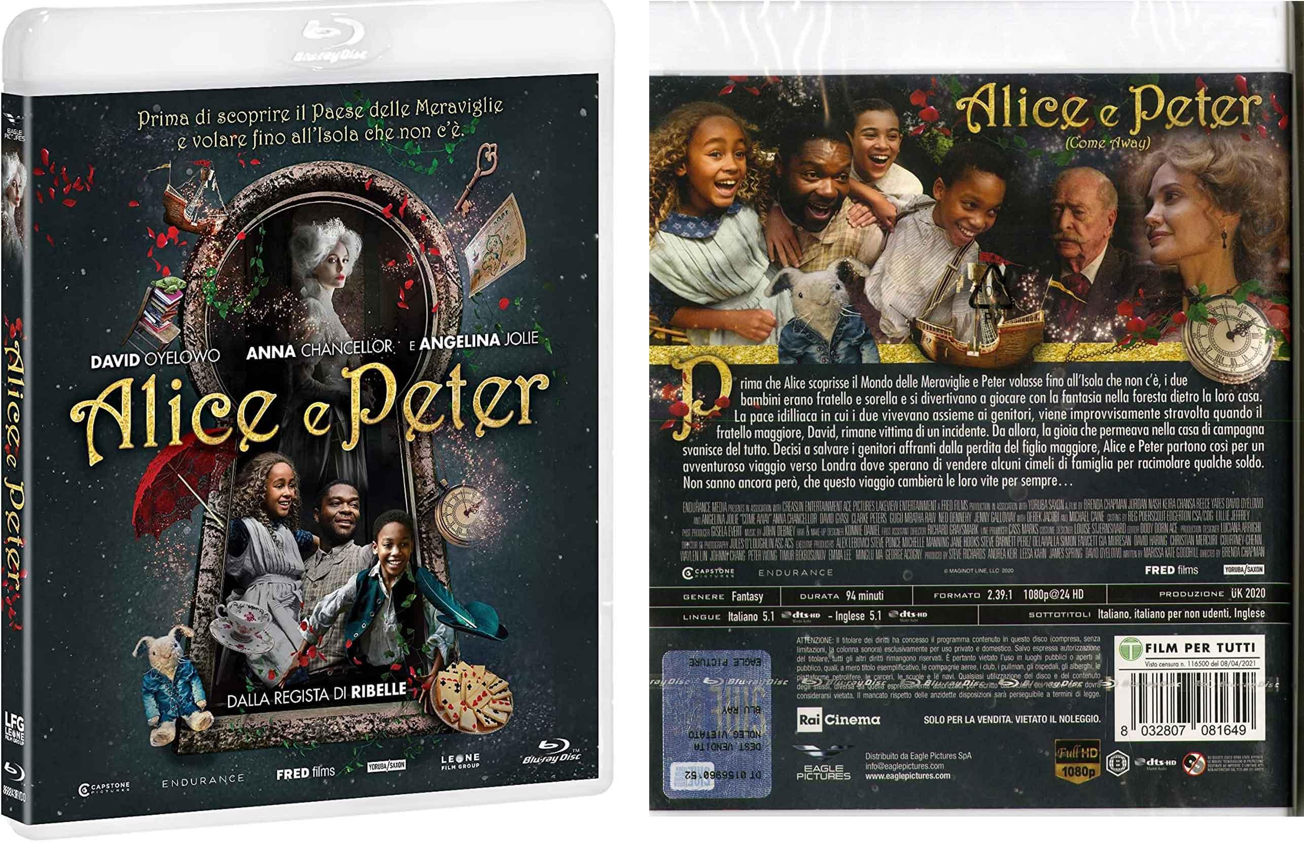 Alice e Peter (Come Away) Blu-ray recensione con Angelina Jolie