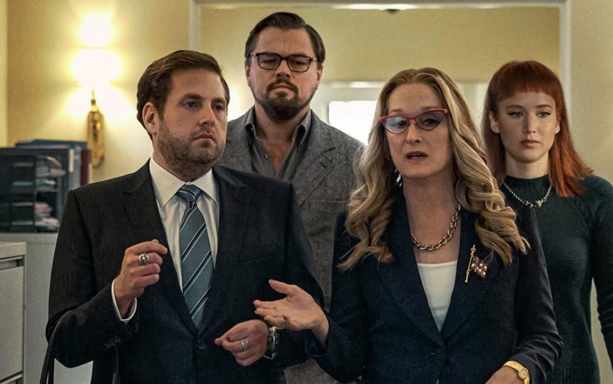 Jonah Hill, Leonardo DiCaprio, Meryl Streep e Jennifer Lawrence